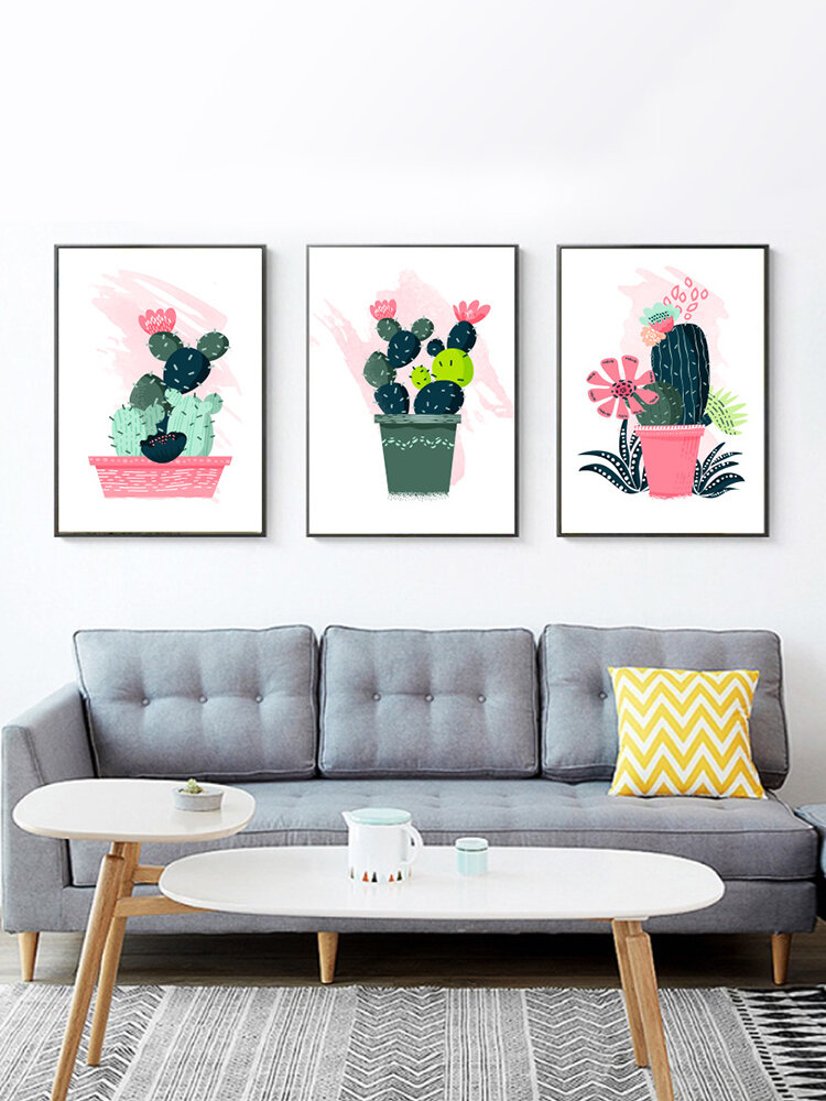 1PC Unframed Cartoon Cactus Plant Pattern DIY Canvas Painting Wall Art Canvas Living Room Home Decor Wall Pictures