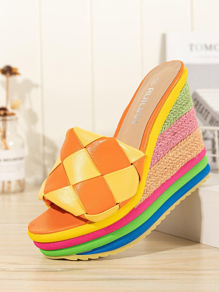 Mujer Moda Diamante Color Bloque Tejido Banda Cómodo Slip On Rainbow Alpargatas Plataforma Cuñas zapatillas