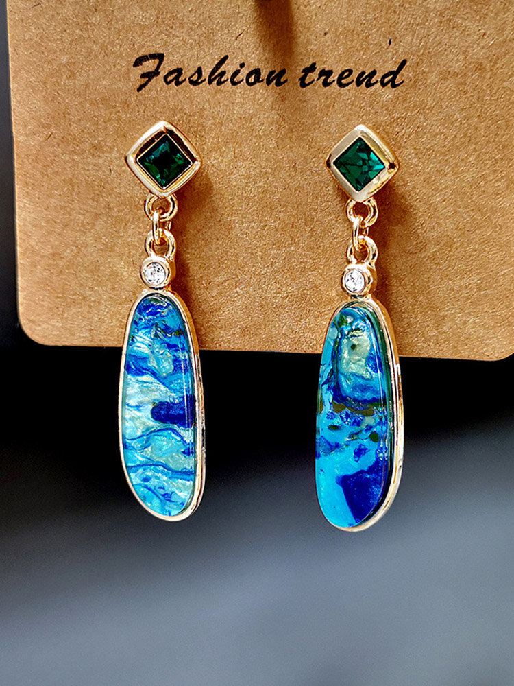Vintage Marine Stone Long Earrings Synthetic Opal Pendant Earrings