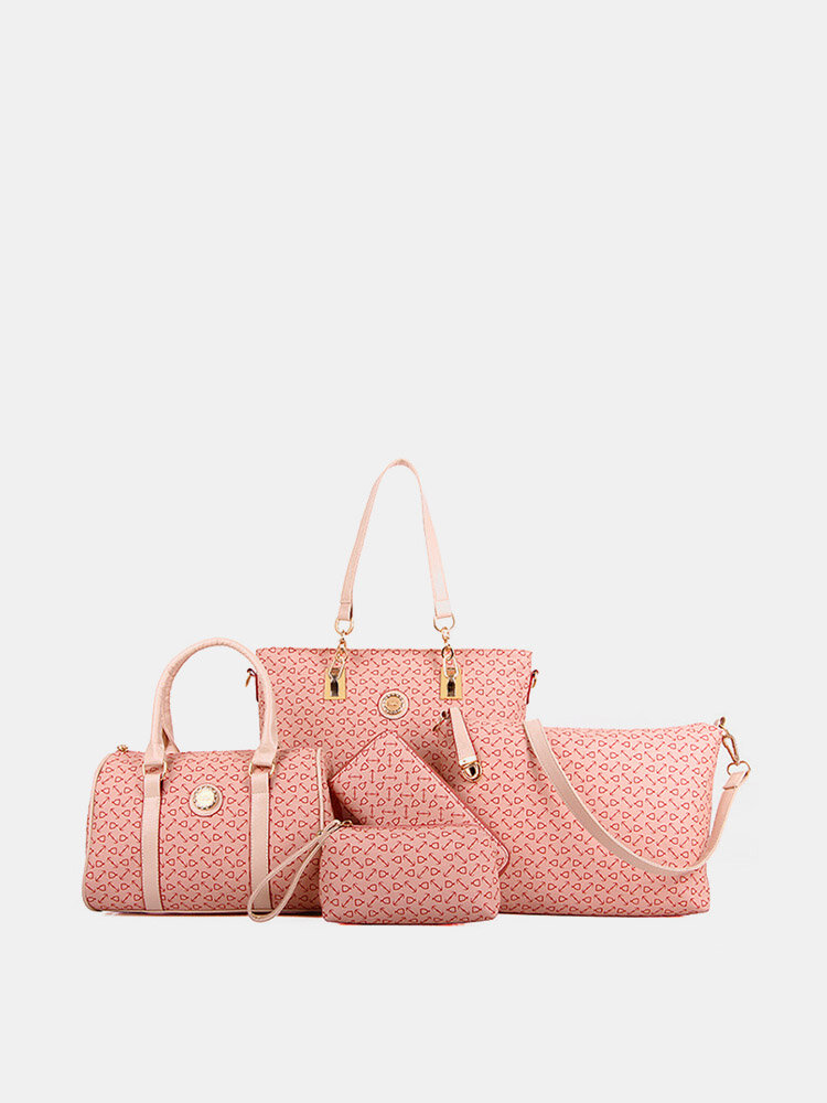 Women 6 PCS Print Large Capacity Handbag Shoulder Bag Tote
