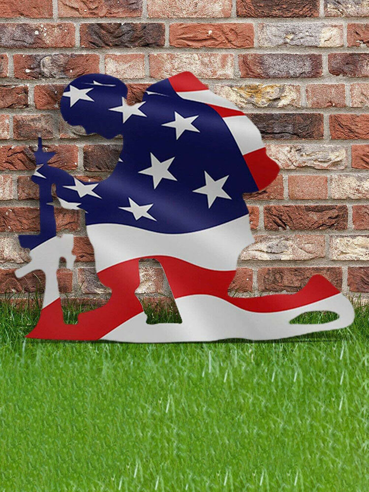 America Independence Day Memory Soldier Flag Creative Outdoor Garden Art Decor Festival Gift