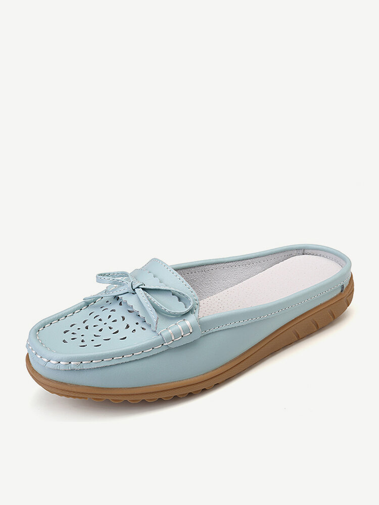 Plus Size Women Casual Soft Hollow Butterfly Knot Leather Flats Slippers