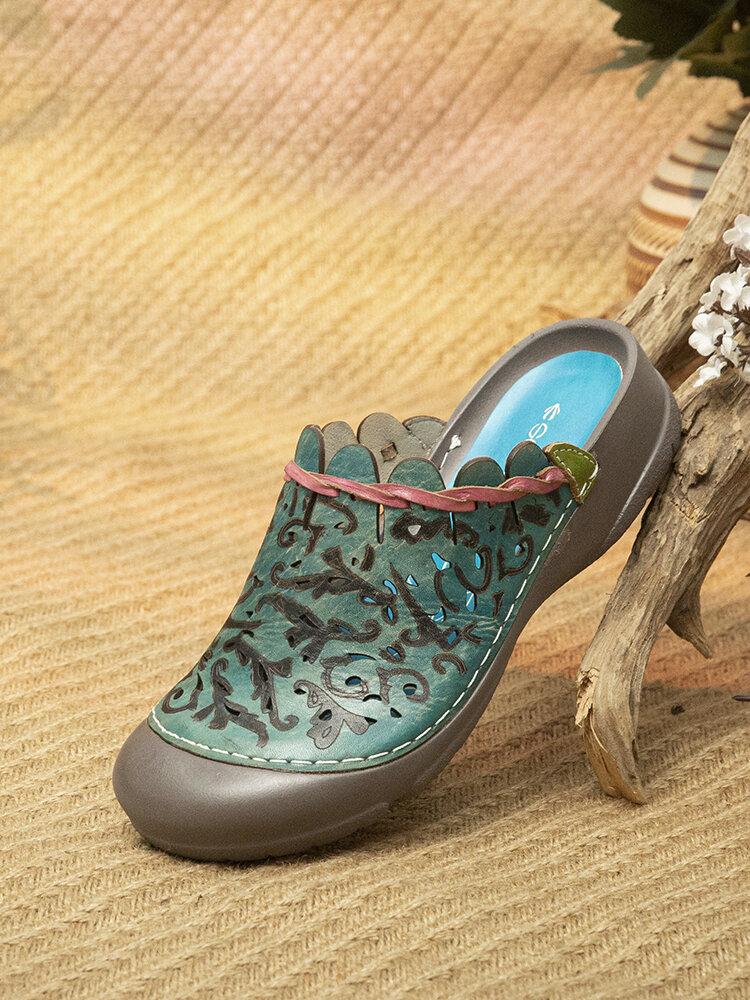 Socofy Retro Ethnic Print Genuine Leather Closed Toe Comfy Mule Sandals