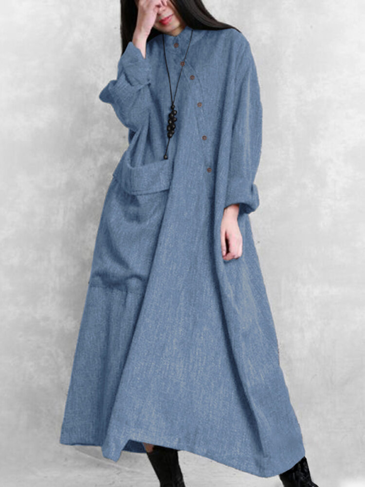Solid Color Button Pocket Long Sleeve Casual Loose Dress