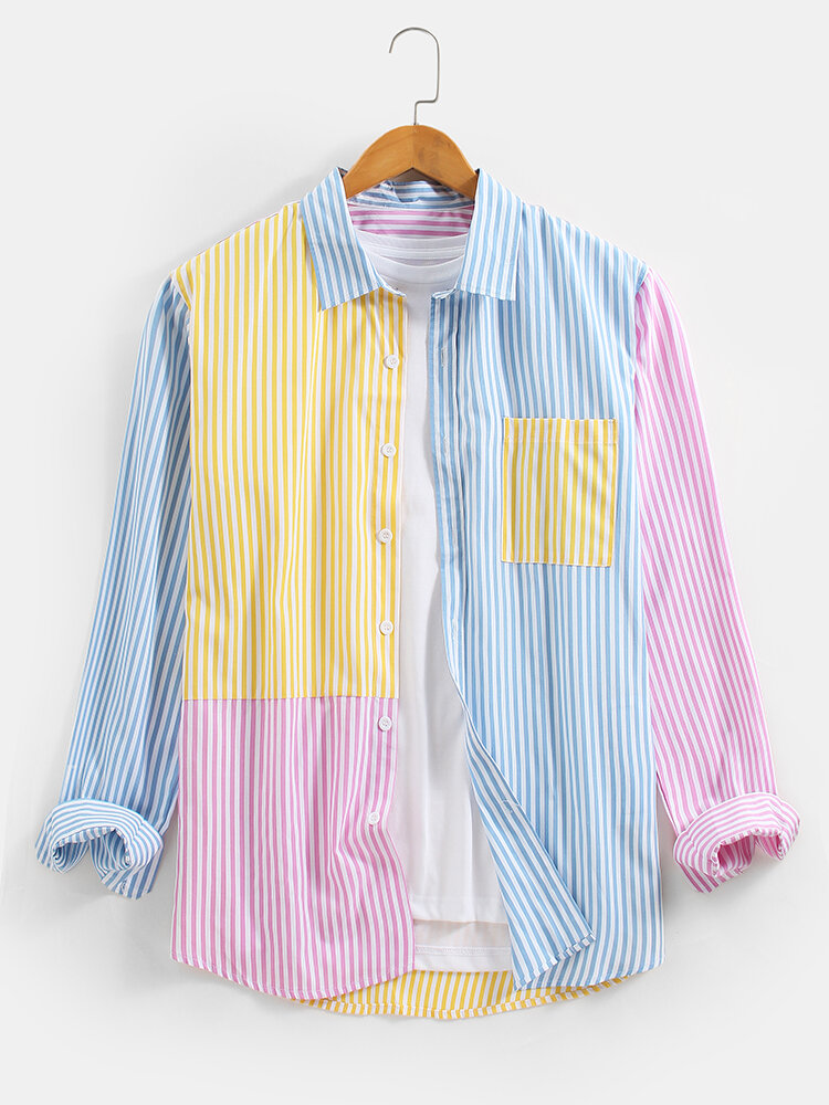 Mens Macaron Striped Patchwork Cotton Long Sleeve Shirts With Pocket