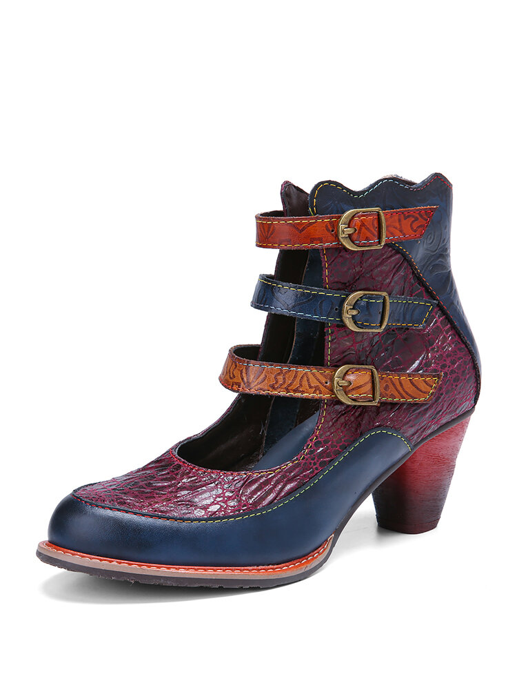 SOCOFY Vintage Embossing Cowhide Leather Comfy Non Slip Three-color Buckle Strap Short Boots