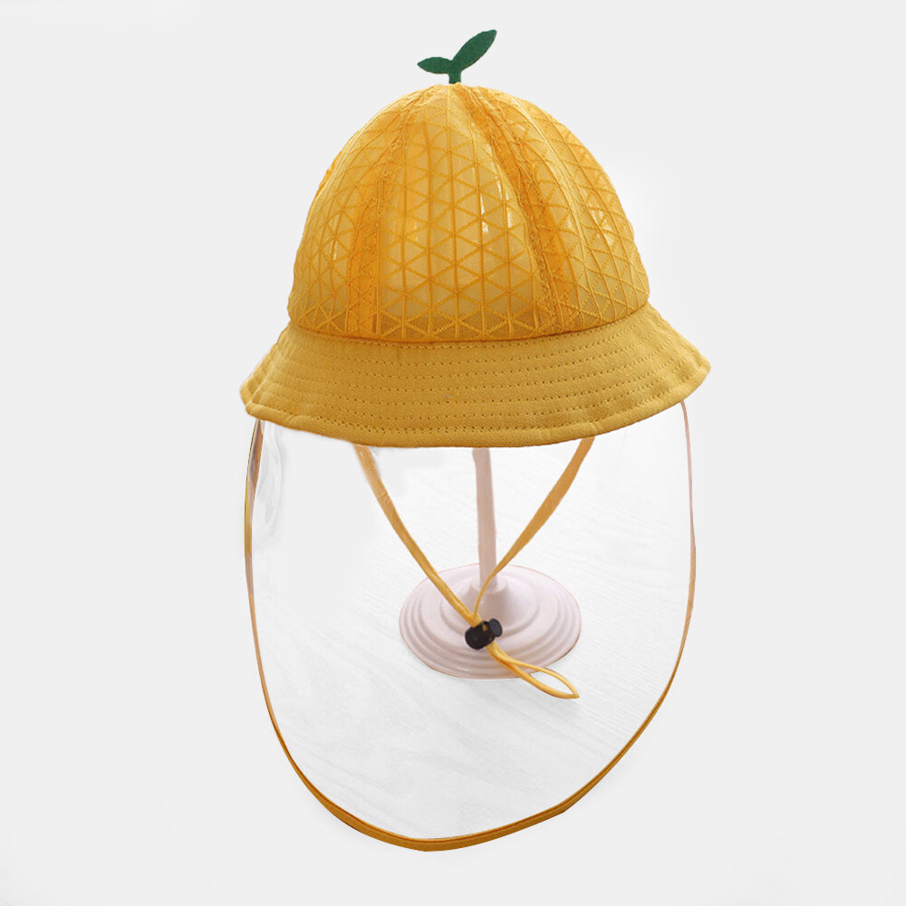 Children's Mesh Cap Breathable Fisherman Hat Removable Face Screen