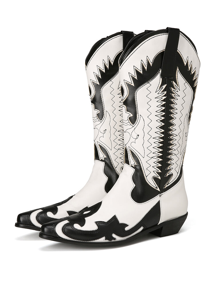 Plus Size Women Pointed Toe Pattern Slip On Chunky Heel Cowboy Boots
