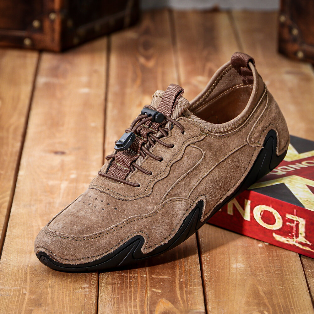 Men Genuine Leather Non Slip Elastic Lace Soft Sole Casual Driving Shoes