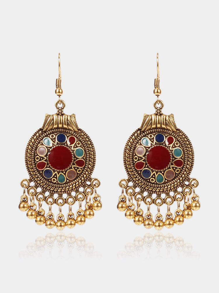 Vintage Ear Drop Earrings Round Geometric Beads Tassels Dangle Earrings Ethnic Jewelry for Women