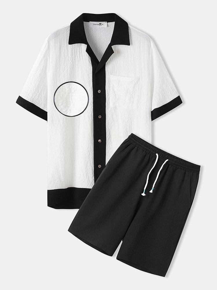 メンズシアサッカー素材パッチワークデザインバロックツーピース衣装