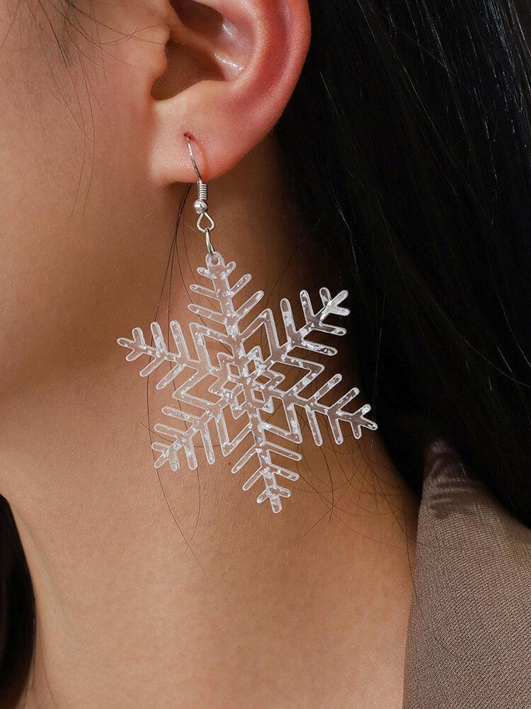 Christmas Acrylic Sequin Snowflake Earrings Transparent Edelweiss Pendant Earrings