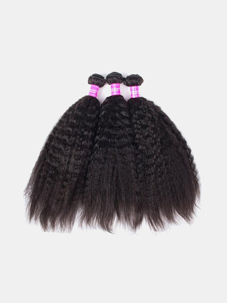 1 Bundle Kinky Straight Yaki 100% Brazilian Human Virgin Hair Extension Weave Bundles Nature Color