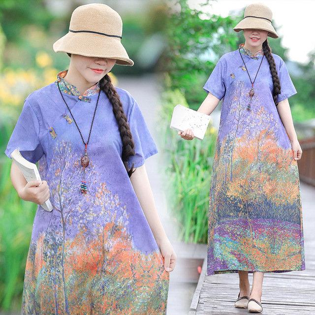 Cotton And Linen Printed Disc Buckle Retro Temperament Dress