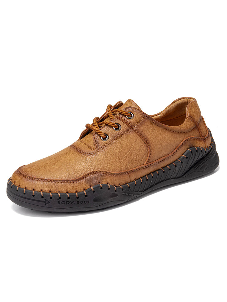 Men Handmade Stitching Non Slip Wearable Soft Sole Casual Flat Leather Shoes