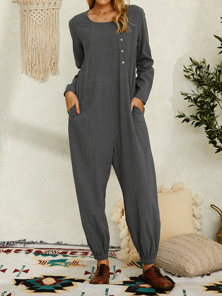 Solid Color O-neck Long Sleeve Jumpsuit With Pocket