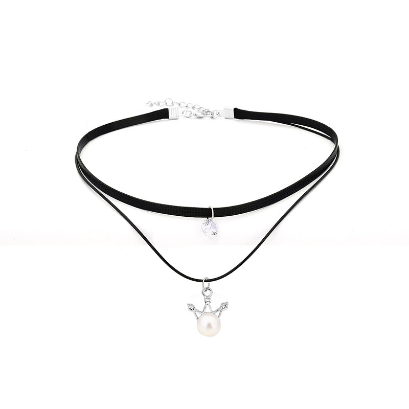 Women's Punk Necklace Two Layers Crown Pearl Rhinestone Necklace