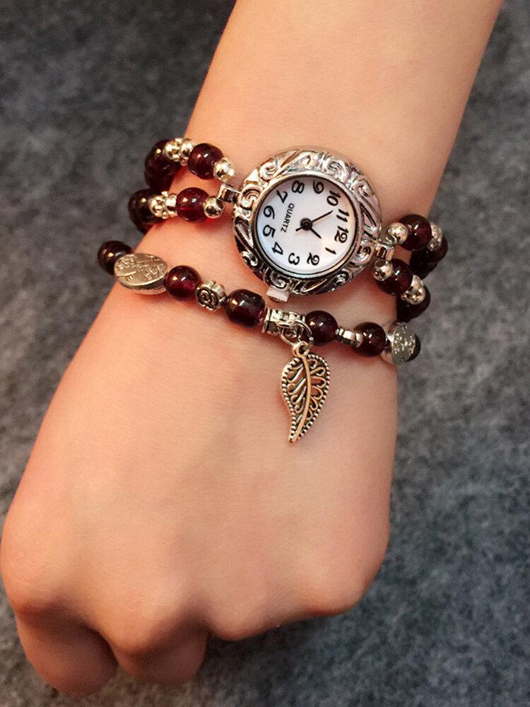 エスニックブレスレットウォッチアゲートビーズクォーツ時計ヴィンテージリーフペンダント腕時計女性用