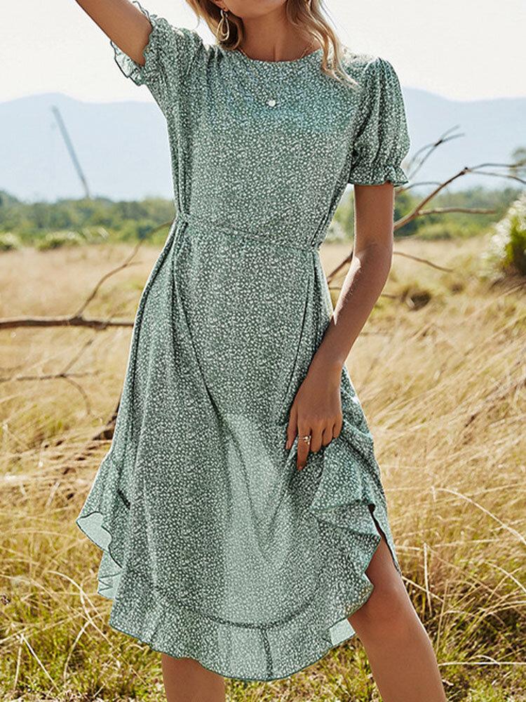 Круглый вырез с цветочным принтом и короткими рукавами с завязками и оборками Платье