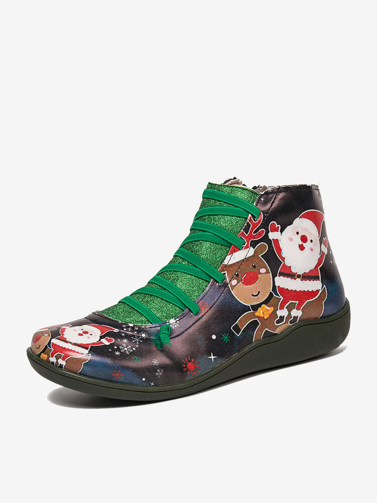 Christmas Pattern Comfort Splicing Zipper Ankle Casual Boots For Women