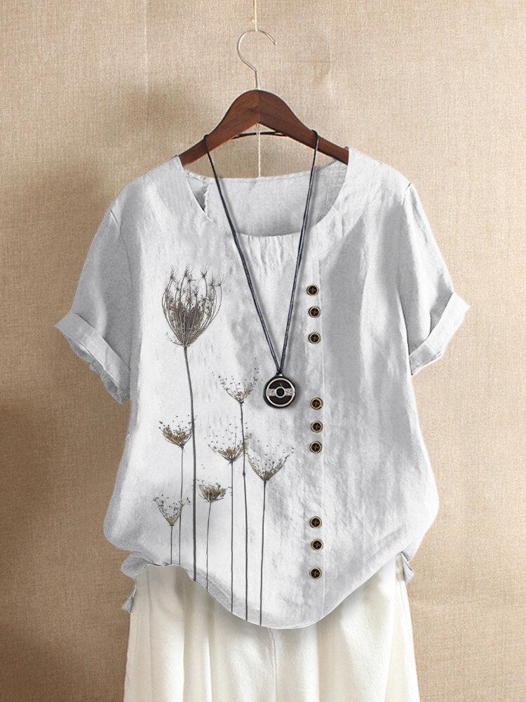 Kurzarm-Freizeit-T-Shirt mit O-Ausschnitt und Blumendruck für Damen