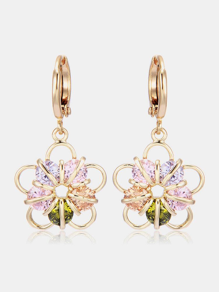 Fashion Ear Drop Earrings Gold Plated Colorful Ziron Flower Charm Earrings Elegant Jewelry for Women
