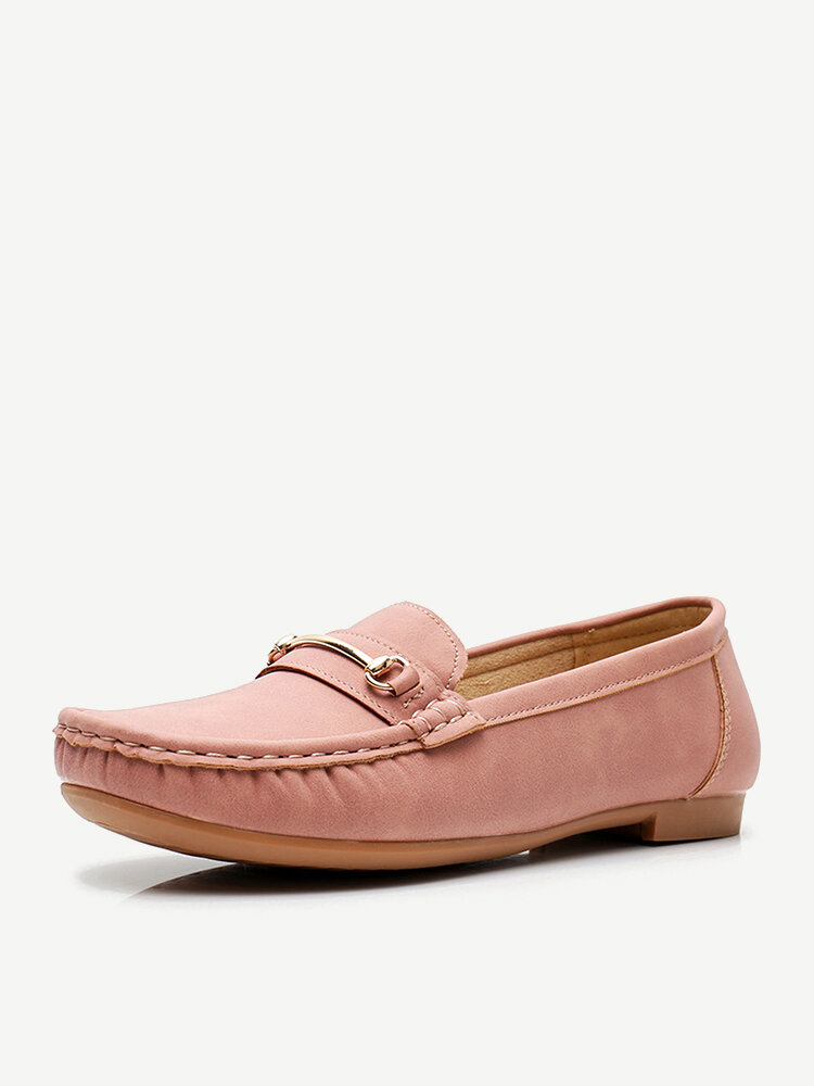 Women Metal Detail Flat Leather Comfy Breathable Casual Loafers
