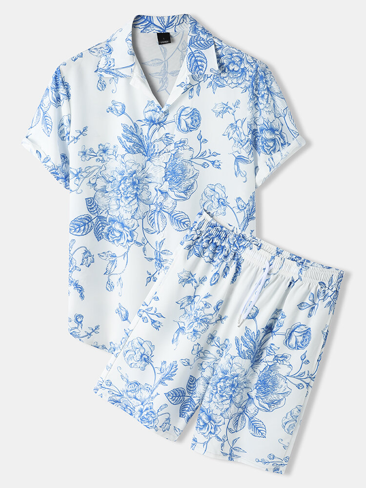 Mens Blue-And-White Porcelain Pattern Chinese Style Shirt & Shorts Co-ords