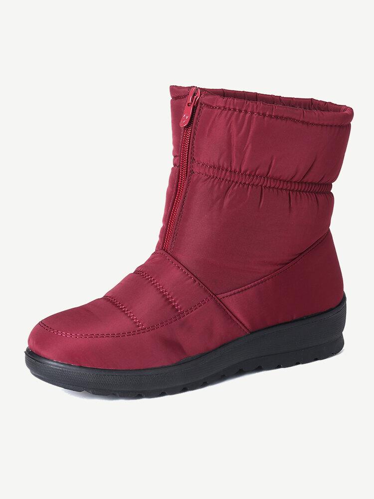 女性の冬暖かい防水ぬいぐるみライニングジッパー半ばふくらはぎノンスリップフラットブーツ