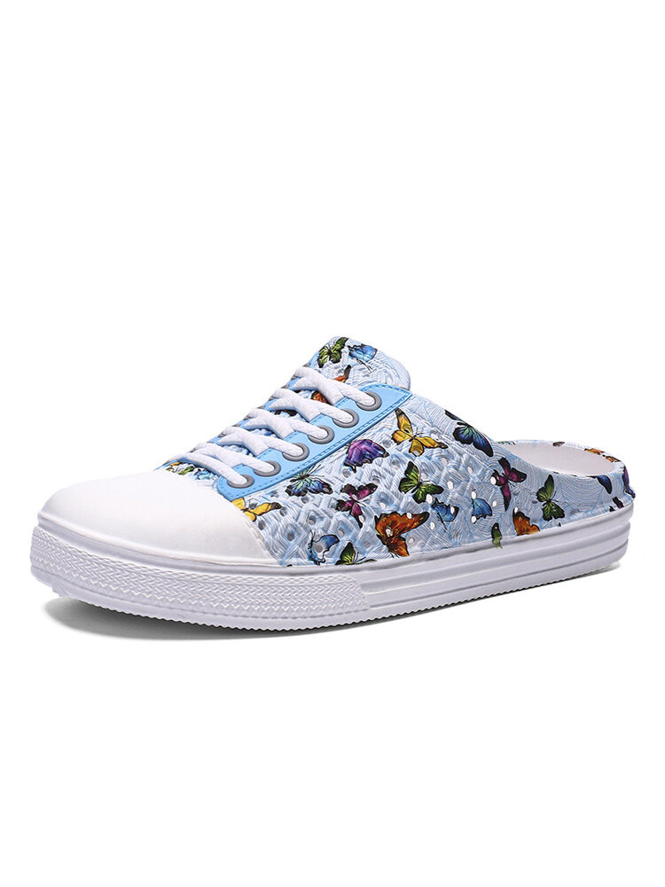 Women Lightweight Butterfly Pattern Beach Closed Toe Backless Soft Mules Shoes