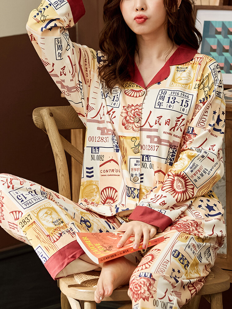 Women Cotton Chinese Character Element Print Revere Collar Two Pieces Home Sleepwear