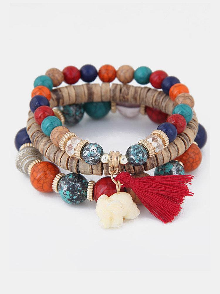 Vintage Multicolor Beads Multi-layer Bracelet Temperament Elephant Pendant Bracelet