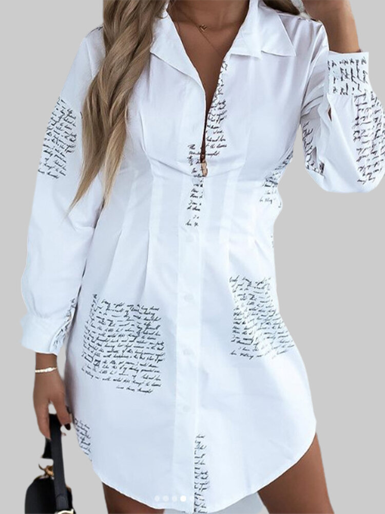Pleated Letter Print Long Sleeve Casual Long Shirt For Women