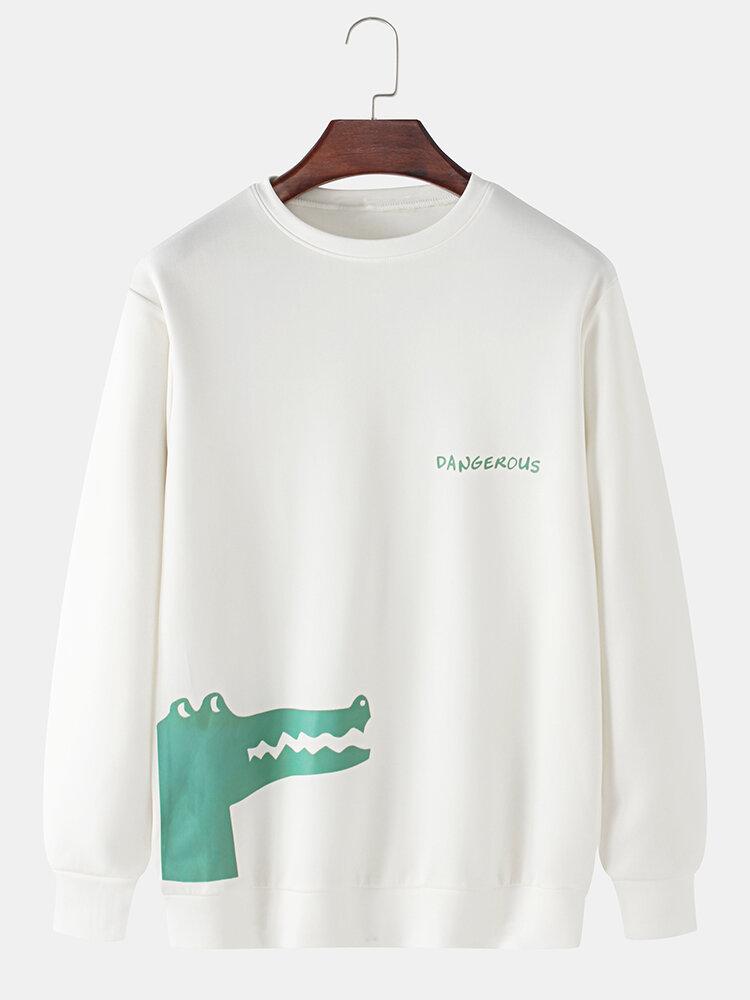 Mens Cartoon Crocodile & Letter Print Plain Casual Loose Long Sleeve Sweatshirts