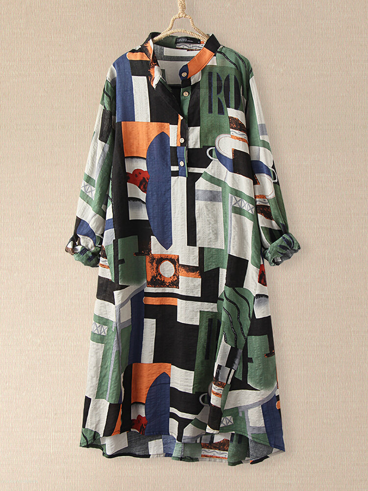 Plaid Loose Stand Collar Long Sleeve Casual Print Dress For Women