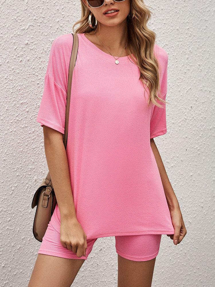 Women Solid Color Short Sleeve Casual Comfy Pajama Sets