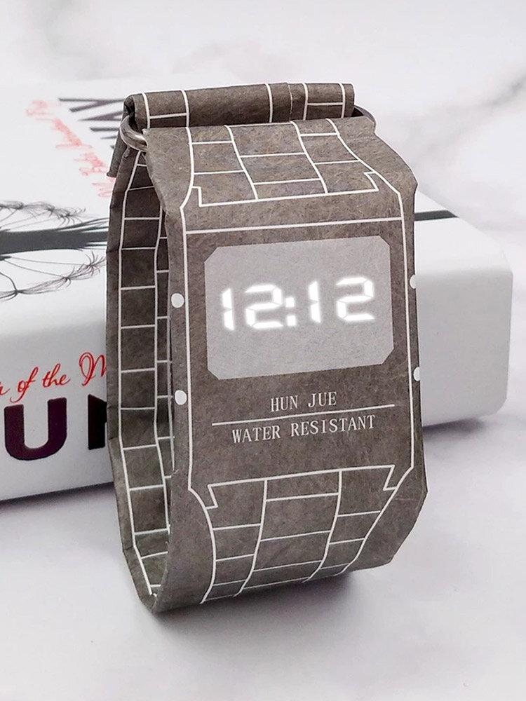 7色デュポン紙LEDデジタル時計男性環境にやさしい軽量防滴時計