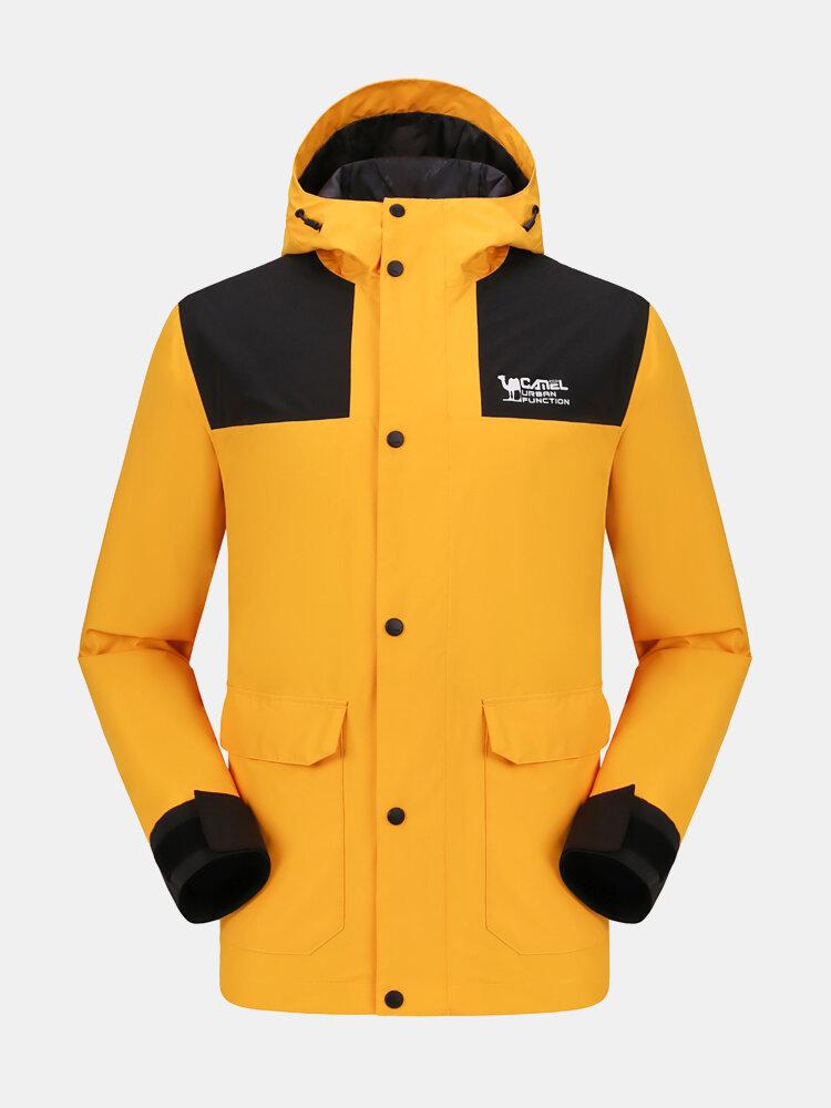 Camel Crown Mens Waterproof Windproof Colorblock Lightweight Outdoor Technical Jacket