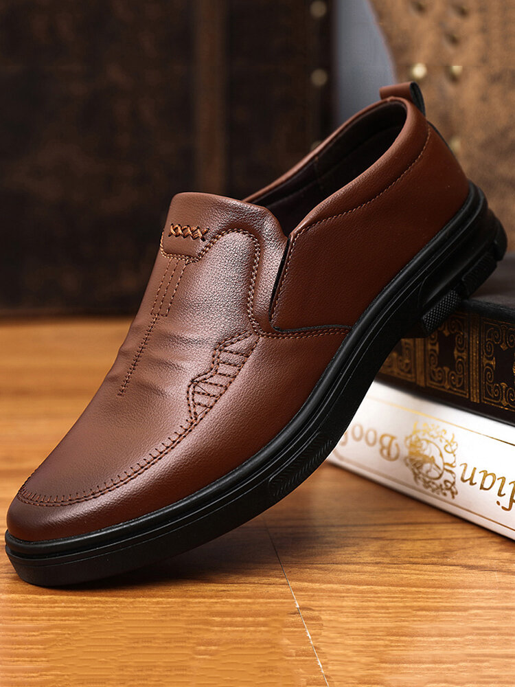 Men Pure Color PU Leather Slip On Business Casual Shoes