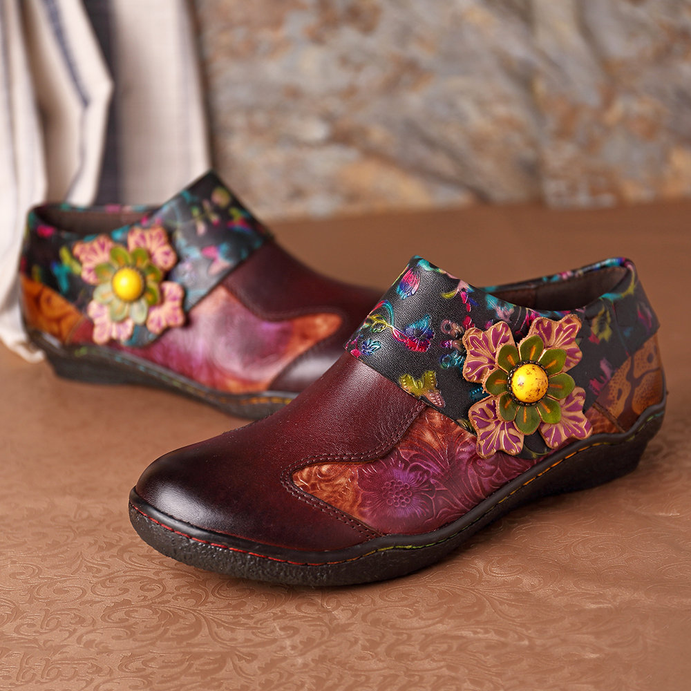 SOCOFY Retro Hand Painted Floral Splicing Pattern Zipper Flat Leather Shoes For Women