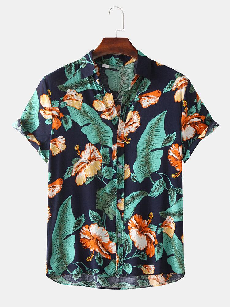 Mens Hawaiian Tropical Plant Floral Print Short Sleeve Shirts