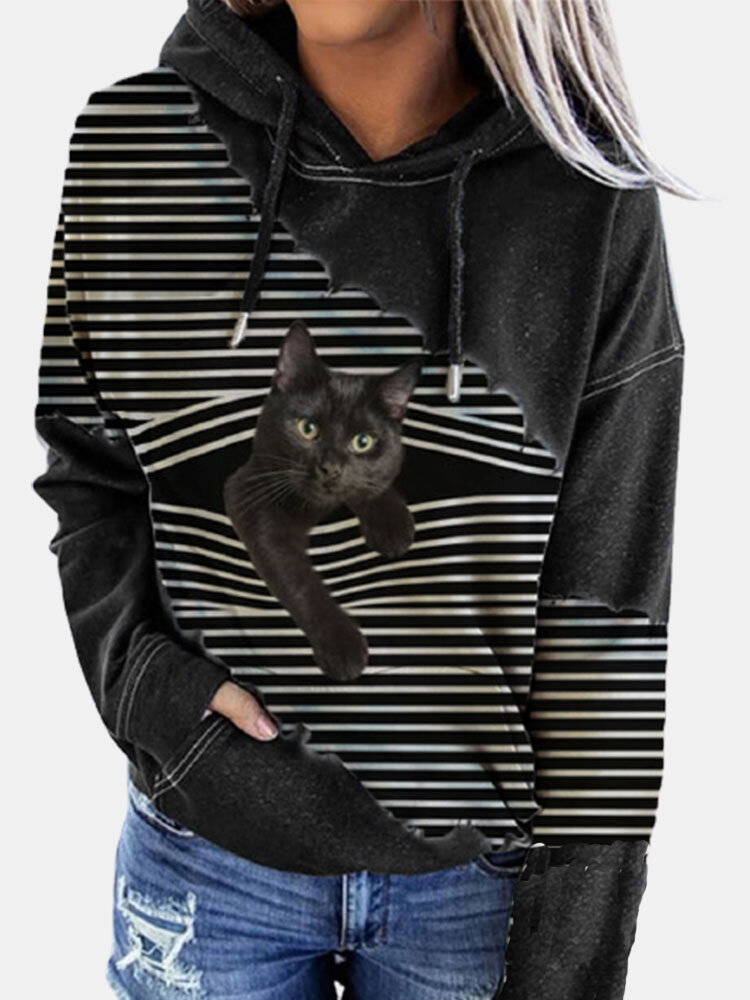Black Cat Print Patchwork Striped Long Sleeve Plus Size Hooded T-shirt
