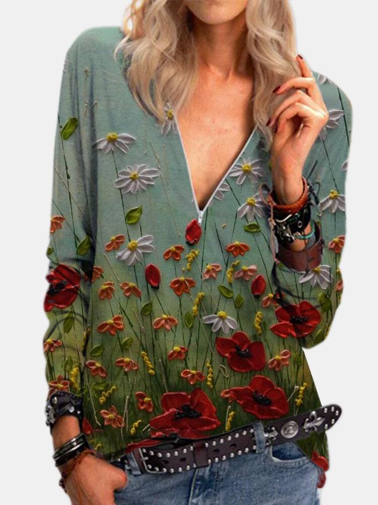 Blumendruck Reißverschluss V-Ausschnitt Langarm Vintage Bluse Für Damen