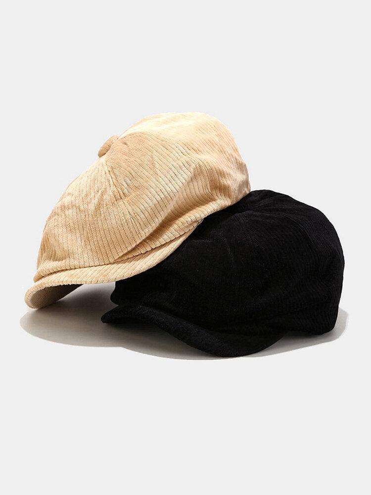 Men Corduroy Fashion Solid Casual Literature Painter Trend Beret Hat Octagonal Hat