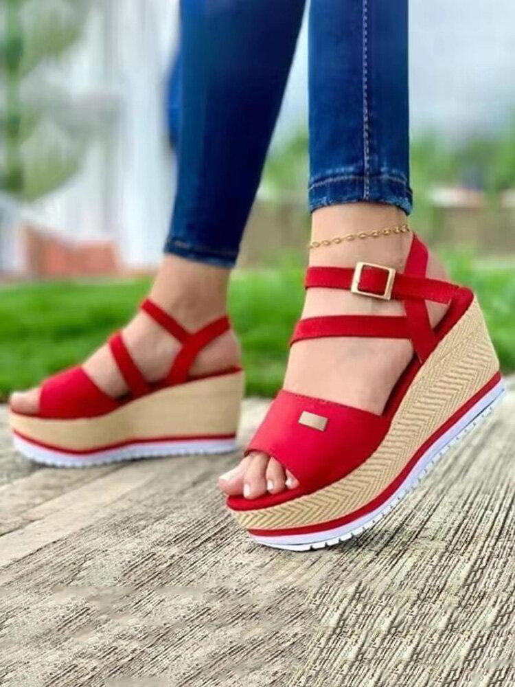 Large Size Peep Toe Buckle Strap Espadrilles Wedges Sandals For Women
