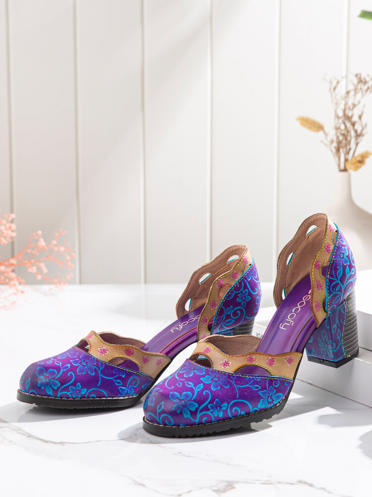 SOCOFY Elegant Floral Printed Hollow Out Cowhide Leather Comfy Slip On Chunky Heel D'Orsay Pumps