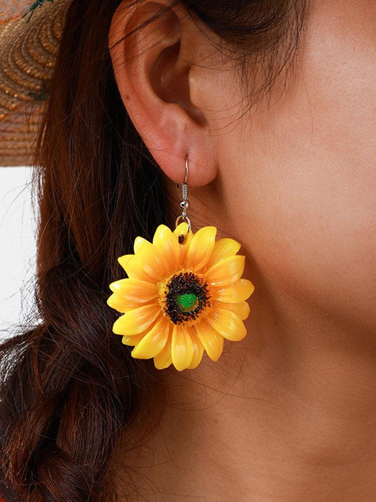 Bohemian Geometric Sunflower Pendant Earrings Exaggerated Yellow Sun Flower Earrings Cute Jewelry