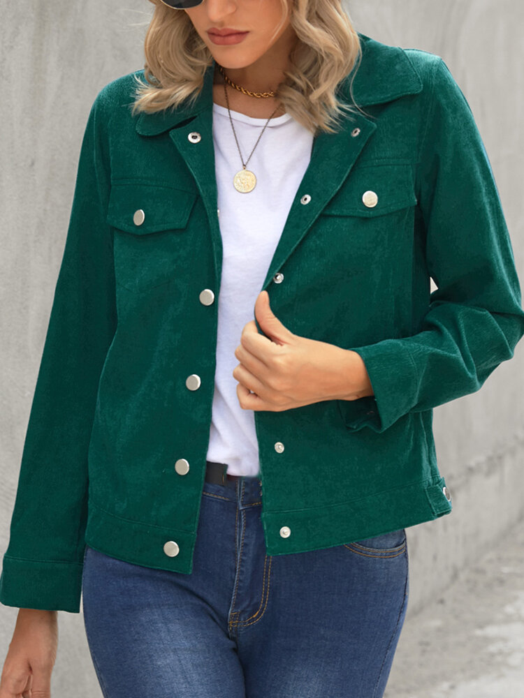 Corduroy Solid Color Button Pocket Casual Jacket For Women