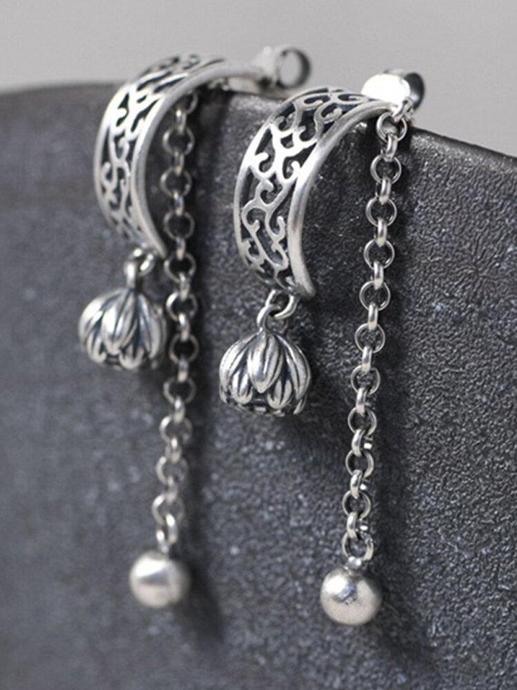 Vintage 925 Sterling Silver Matte Ear Stud Flower Bud Pearl Chain Small Ball Tassel Women Earrings