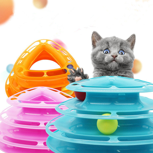 3Colors_Funny_Cat_Toy_Tower_With_Balls_Turntable_Ball_Kitty_Plastic_Kitten_Play_Interactive